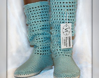 Crocheted Outdoor Summer Wedge Boots, Hippie Folk Tribal Made to Order Women Fashion Boots