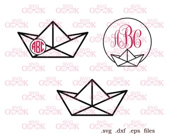 Paper Boat SVG cut files, Origami Boat Monogram Frame svg cut files for use with Silhouette, Cricut and other Vinyl Cutters, svg files