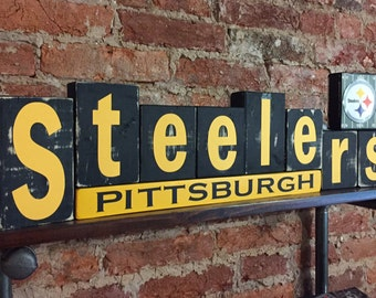 Pittsburgh Steelers Wood Block Decor