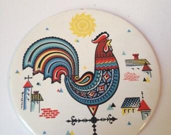 Vintage Berggren Circular Rooster Weathervane Trivet/Tile Scandinavian Folk Art