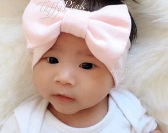 Baby headband with bow - CHOOSE color | Cotton baby turban | stretch fabric headband | Newborn Big Bow Headband | TaffyPink Baby Headwrap
