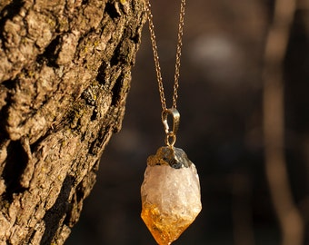 Crystal Necklace, Citrine Crystal, Raw Citrine, Healing Crystal Necklace, Citrine Necklace, Gift For Her, November Birthstone