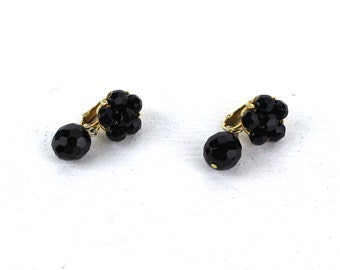 Vintage Black Glass Beaded Gold Tone Metal Dangle Clip on Earrings