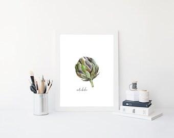 Artichoke printable, digital download, instant download, watercolor Artichoke, Kitchen Art, Wall Art, Poster Art, vegetable printable