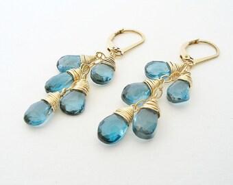 Genuine London Blue Topaz Earrings, December Birthstone, Cascade Earrings, Blue Topaz Jewelry, Leverback, Blue Gemstone, 14K Gold Filled