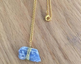 Raw Kyanite natural stone necklace ~ Gold necklace ~ SALE ~ 25% summer discount ~ use code SUMMERVIBES2017