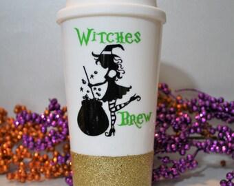 witches brew, cute Halloween tumbler, cute Halloween travel mug, Halloween coffee mug, to go cup, travel tumbler, glitter dipped travel mug