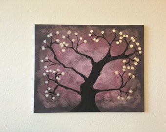 Haunting tree with gold flowers acrylic painting