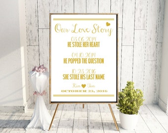 Our Love Story Gold Wedding Sign - PDF + JPG In All Sizes CWS117_11