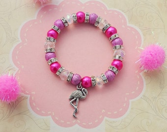 Flamingo Charm Bracelet, Kids Bracelet, Crystal Jewellery, Bird Jewelry, Children's Jewelry, Hot Pink Bracelet, Flamingo Charm, Summer Gift