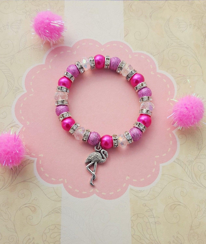 Childrens Charm Bracelet: Flamingo Charm Bracelet Kids Bracelet Crystal Jewellery
