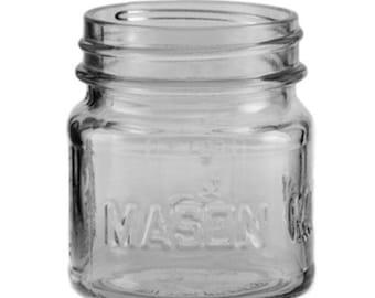 8oz Embossed Mason Jars w Tin Lids [12ct]