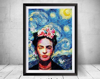 Frida Kahlo Print, Starry Night Print, Wall Art Print, Mexican Artist, Frida Kahlo Photo Reproduction, Frida Kahlo Art, Frida Kahlo Poster