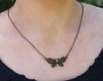 Butterfly Necklace, necklace antique bronze, chain with a pendant butterfly, jewelry, Boho Style