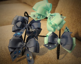 5 Inch Double Bows with Gems