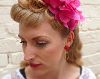 "The ""Bonita"" - cerise pink bougainvillea flower headband, meditteranean flower, hair piece"
