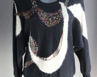 Womens Vintage Dolman Sweater // Henley Sweater // Mixed Fabrications In Black // Career // Size Medium