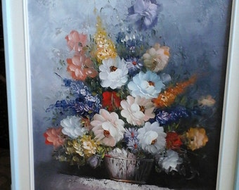 Signed S Temple floral oil painting