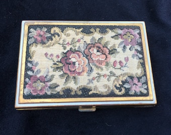 Vintage Embroidered Rex Fifth Avenue Compact with Blush and Powder