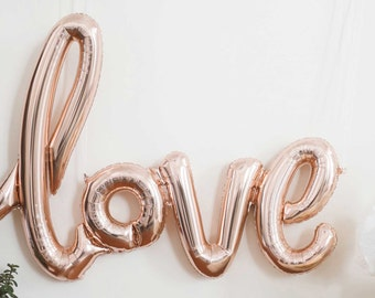 "Script Love Foil Balloons 40"" - Rose Gold Balloons - Love Balloons - Bachelorette Party Decor -  Bachelorette Party Ideas - Bridal Shower"