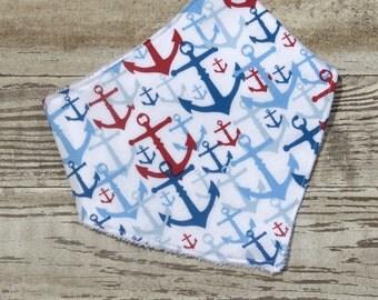 Baby bib. Toddler bib, Drool bib, Bibdana, Handmade baby gift, Handmade baby item, Anchors, Nautical theme, Snap bib, Red white and blue