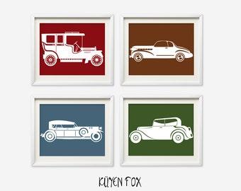 Vintage Car wall art - cars nursery art - kids wall art - Nursery Decor - boy nursery art - vintage cars wall prints - red car art