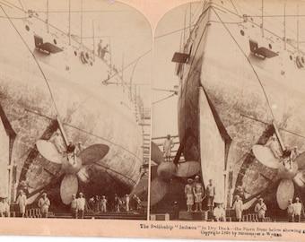Rare 1898 Battleship Indiana Stereoview Photo Stern View Showing Great Screws