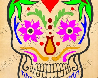 Sugar Skull SVG, stencil for print on t-shirt, stencil for tattoo, digital files for Cricut, Silhouette or other cutting, printing machines.