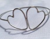 Sterling Silver Heart Bangle, Twin Heart , Love Bangle, Elegant Bracelet, Wedding Jewellery