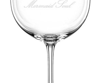 Mermaid Etched Wine Glass, Personalized Gift, Nautical Barware