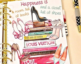 Planner Dashboard, FASHION SHOES And BOOKS Planner Dashboard, A5 Dashboard, Page Divider, Girly Fashion Planner, Glam Girl Planner Dividers