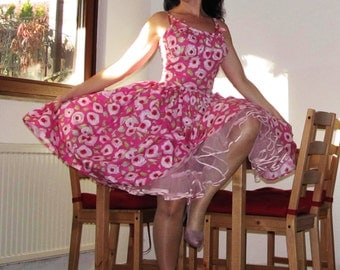 Pinup dress 'JRockabilly girl in Pink roses', playful floral rockabilly dress 3 COLORS pink/blue/yellow AVAILABLE