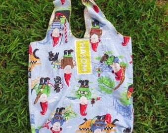 Upcycled / Reusable Shopping Bag / Reusable Grocery Bag / Reusable Bag / Tote Bag/ Shopping Bag / Farmers Market Bag/ Gnomes