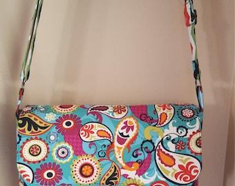 Fun paisley and chevron messenger bag