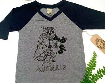 Screen-Printed Navy Baby/Toddler Baseball Tee with Owl
