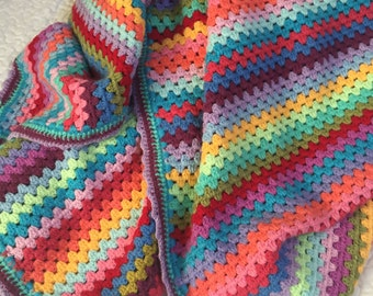 Colorful & Modern Granny Stripes Baby Blanket ~ Pick Multi, Pink, Blue or Yellow Palette