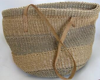 Vintage from the 70's Jute Straw Market Basket Bag Teal Blue Deisstressed