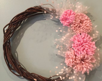 Willow Twig  Grapevine Wreath with Felt Handmade Flowers Wall or Door Decoration or Hair Bow or Photo Holder