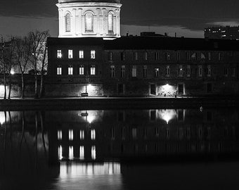 Former hospital The Grave by night in Toulouse, France. Dome of the former Hospital La Grave at the edge of the Garonne in Toulouse, France.