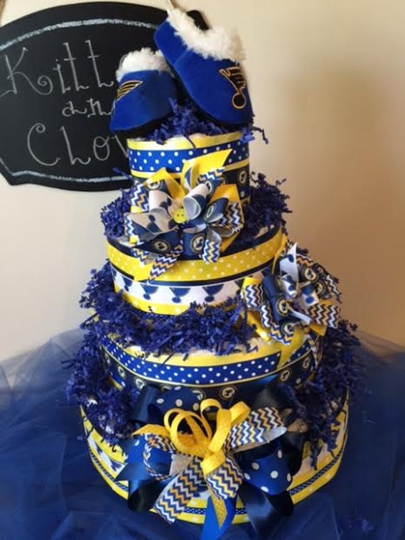 Items Similar To ST. Louis BLUES 4 Tier Diaper Cake, St. Louis Blues Hockey  Diaper Cake, STL Blues, Blues, Baby Shower, Baby Gift, Newborn On Etsy