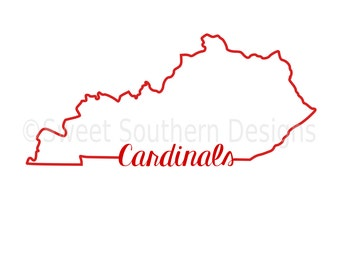 Kentucky outline cardinals SVG instant download design for cricut or silhouette