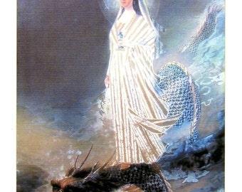 Kuan Yin On The Dragon Card