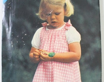 SEE and SEW 3191  Sewing Pattern ~ Toddler Size 1 2 3 ~ Sweet Simple Jumper with Shoulder Ties from the Seventies/Eighties