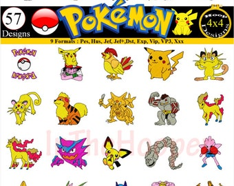 Pokemon Embroidery Designs Pes, Hus, Jef, Dst, Exp, Jef+, Vip, Vp3, Xxx