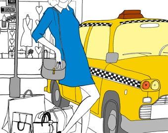 Taxi - original illustrations, posters