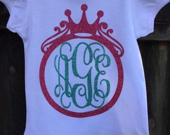 Girls' monogram Ruffle TShirt