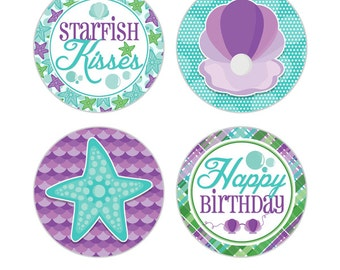 """Mermaid Tails Digital 2"""" Two Inch Party Circles Girls Birthday Party Printable Under The Sea Cupcake Toppers INSTANT DOWNLOAD"""