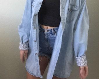 1990s 90s Vintage Oversized Denim Cotton Shirt Blouse Button Up