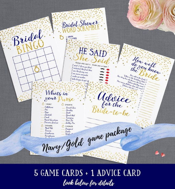 Navy & Gold Bridal Shower Printable Games Package - Includes Advice Card