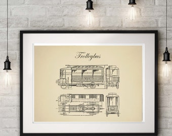 Streetcar Trolley Poster, Trolley Bus Print, Vintage Style, Transportation Wall Art, Home decor Vehicle, Technical Drawing, Child Art Prints
